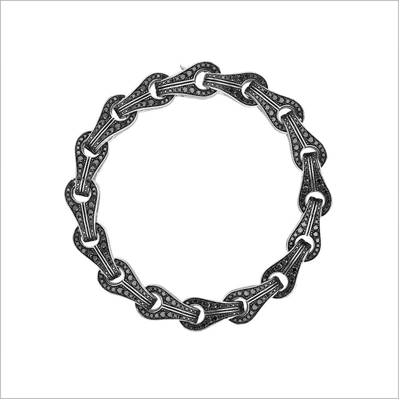 Men's Centauro Sterling Silver Chain Bracelet with Pave Black Diamonds