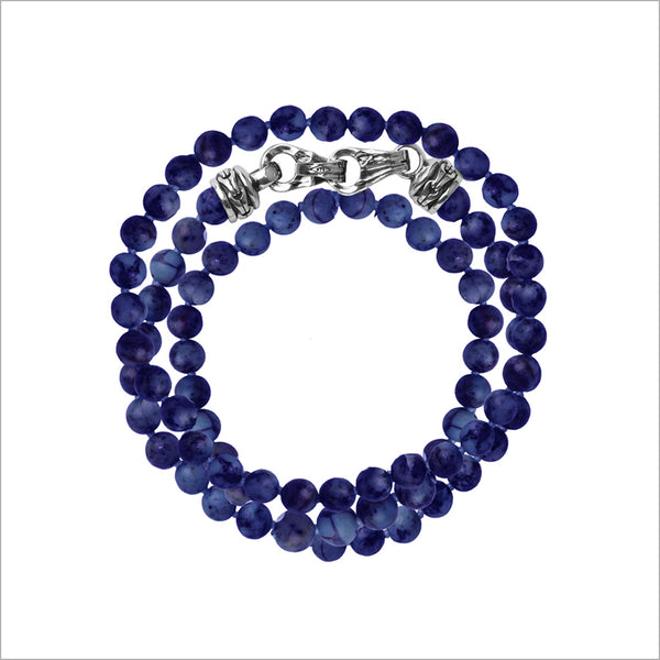 Men's Centauro Blue Lapis Triple Wrap 6mm Bead Bracelet