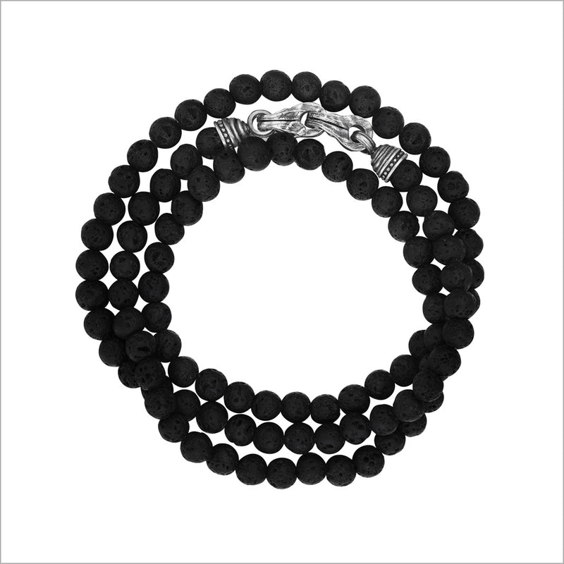 Men's Centauro Black Lava Triple Wrap 6mm Bead Bracelet