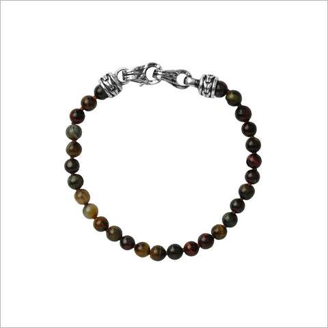Men's Centauro Bronzite Bead Bracelet with Sterling Silver Clasp