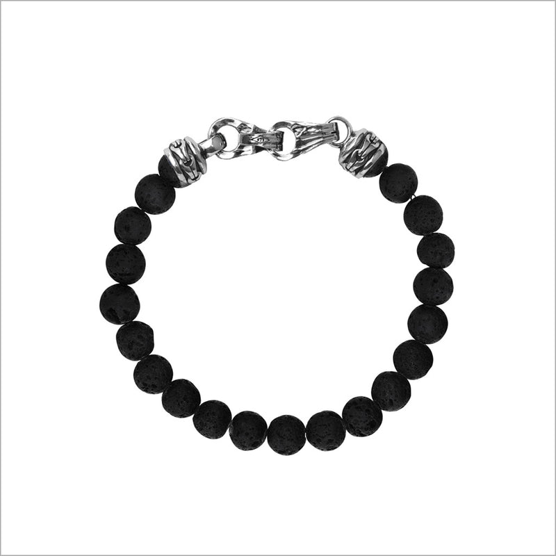 Men's Centauro Black Lava 6mm Bead Bracelet