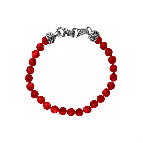 Men's Centauro Red Jade Bead Bracelet with Sterling Silver Clasp