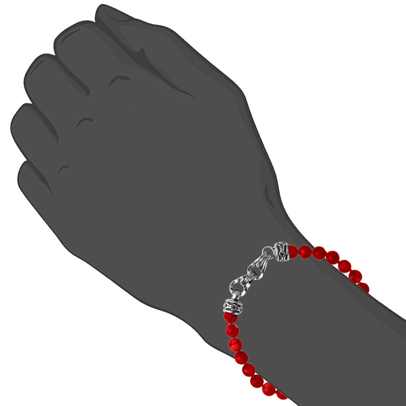 Men's Centauro Red Jade 6mm Bead Bracelet