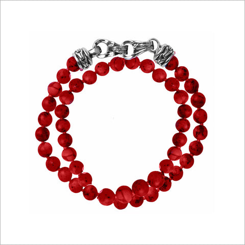 Men's Centauro Bamboo Coral Double Wrap Bead Bracelet with Sterling Silver Clasp
