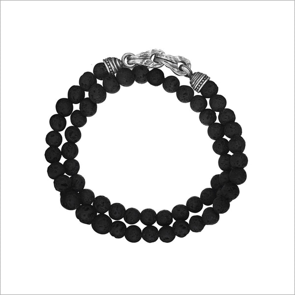 Men's Centauro Black Lava Double Wrap 6mm Bead Bracelet