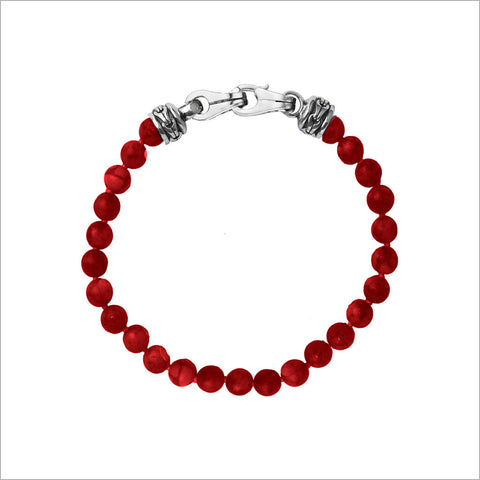Men's Centauro Bamboo Coral Bead Bracelet with Sterling Silver Clasp