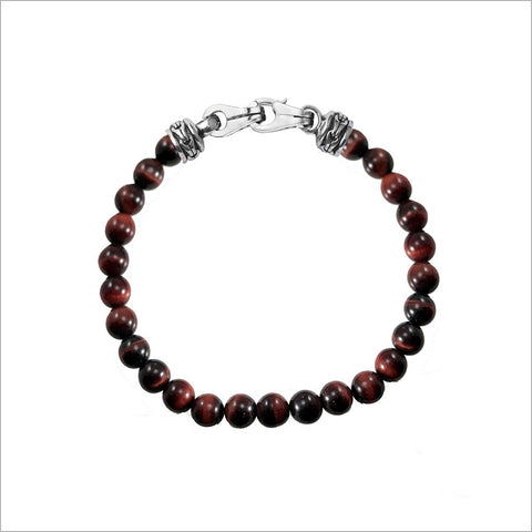 Men's Centauro Red Tigers Eye Bead Bracelet with Sterling Silver Clasp