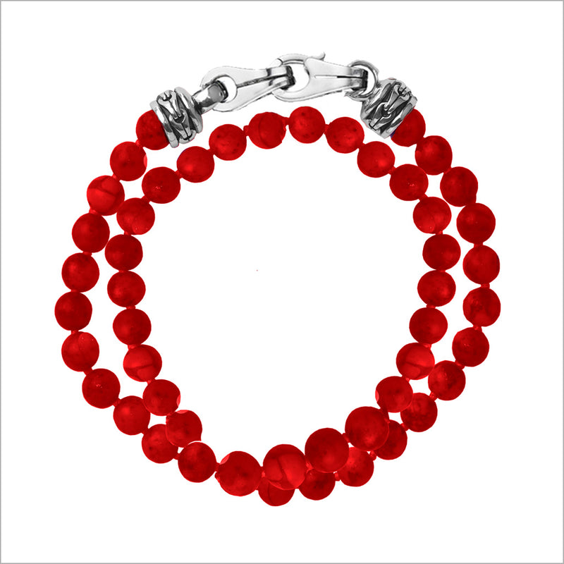 Men's Centauro Bamboo Coral Double Wrap 6mm Bead Bracelet