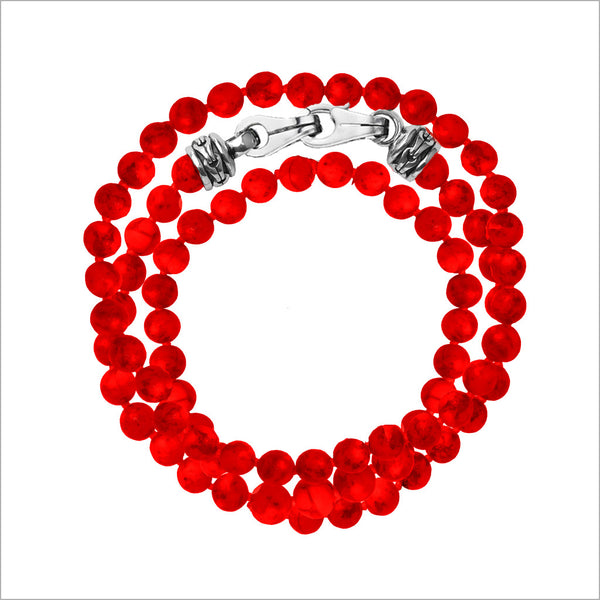 Men's Centauro Bamboo Coral Triple Wrap 6mm Bead Bracelet