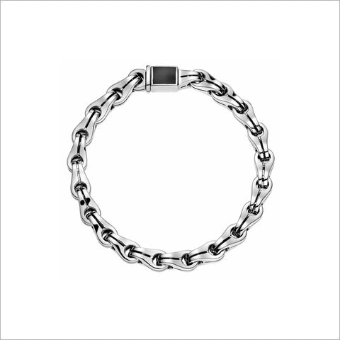 Men's Falco 18K White Gold & Black Onyx Chain Bracelet