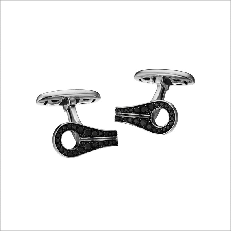 Men's Centauro Sterling Silver & Black Diamond Cufflink