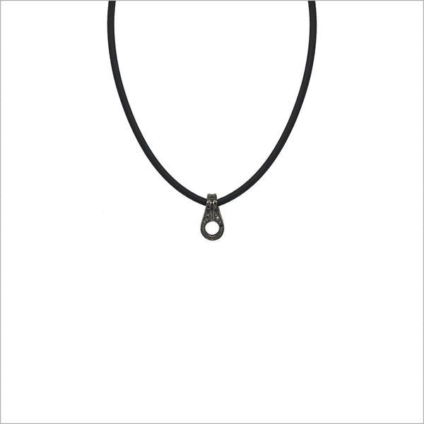 Men's Centauro Black Leather and Diamond Pendant