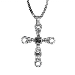 Men's Centauro Sterling Silver & Black Diamond Cross Pendant