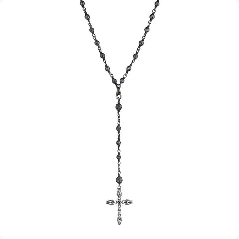Men's Centauro Black Lava & Sterling Silver Rosary