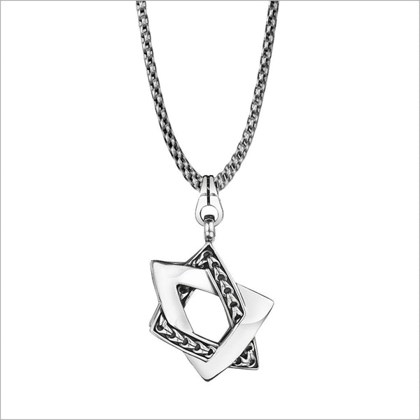 Men's Centauro Large Star of David Sterling Silver Pendant