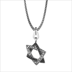Men's Centauro Large Star of David Sterling Silver & Black Diamond Pendant