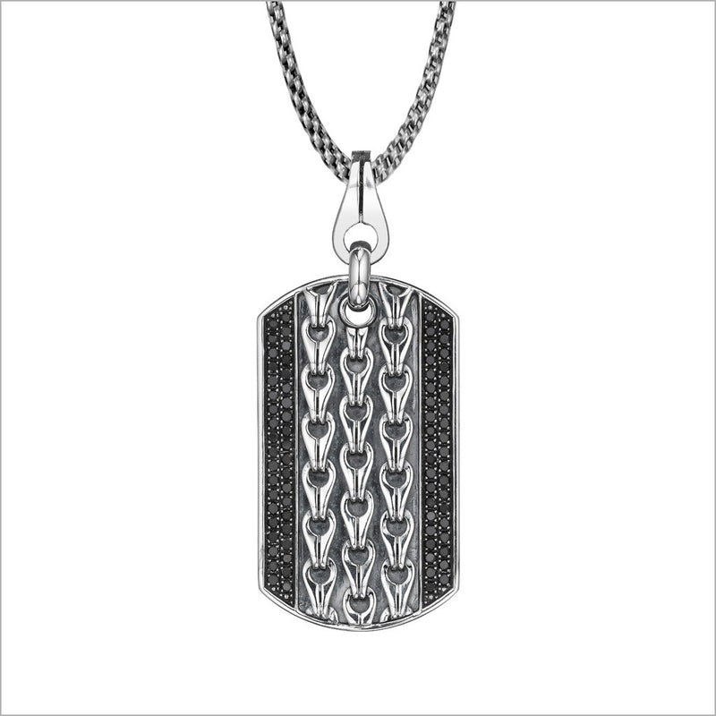 Men's Centauro Sterling Silver & Black Diamond Pendant