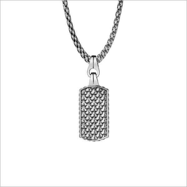 Men's Centauro Sterling Silver & Black Enamel Small Double-Sided Pendant