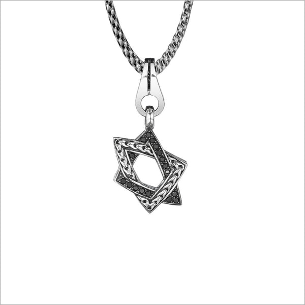 Men's Centauro Small Star of David Diamond Pendant in Sterling Silver