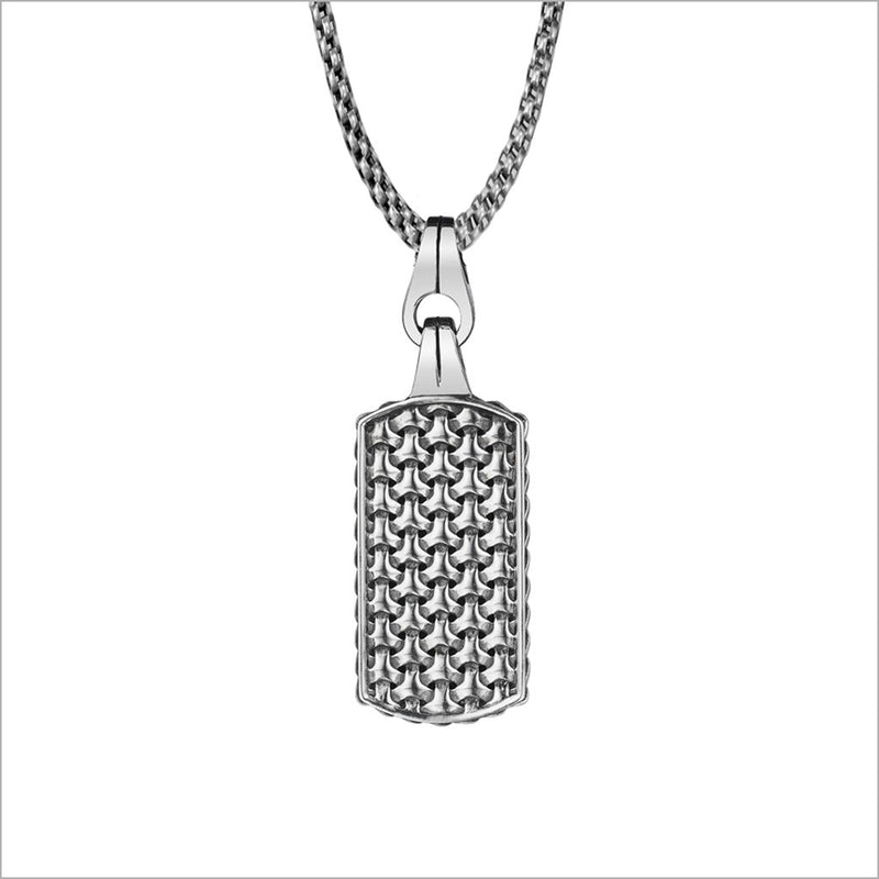 Men's Centauro Large Double-Sided Pendant in Sterling Silver with Black Enamel