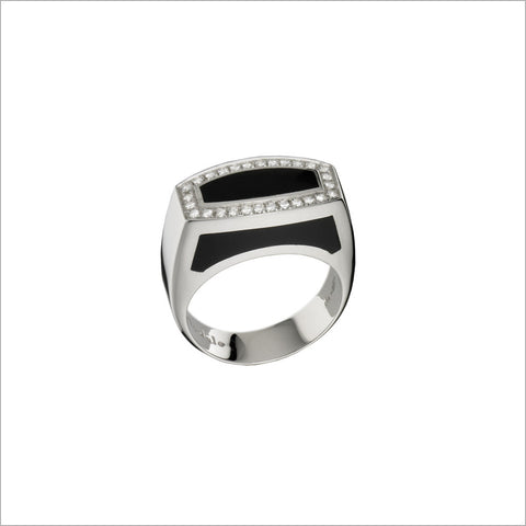 Men's Falco 18K White Gold & Black Onyx  Ring