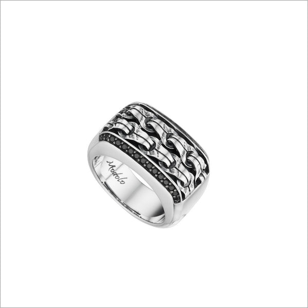 Men's Centauro Sterling Silver & Black Diamond Ring