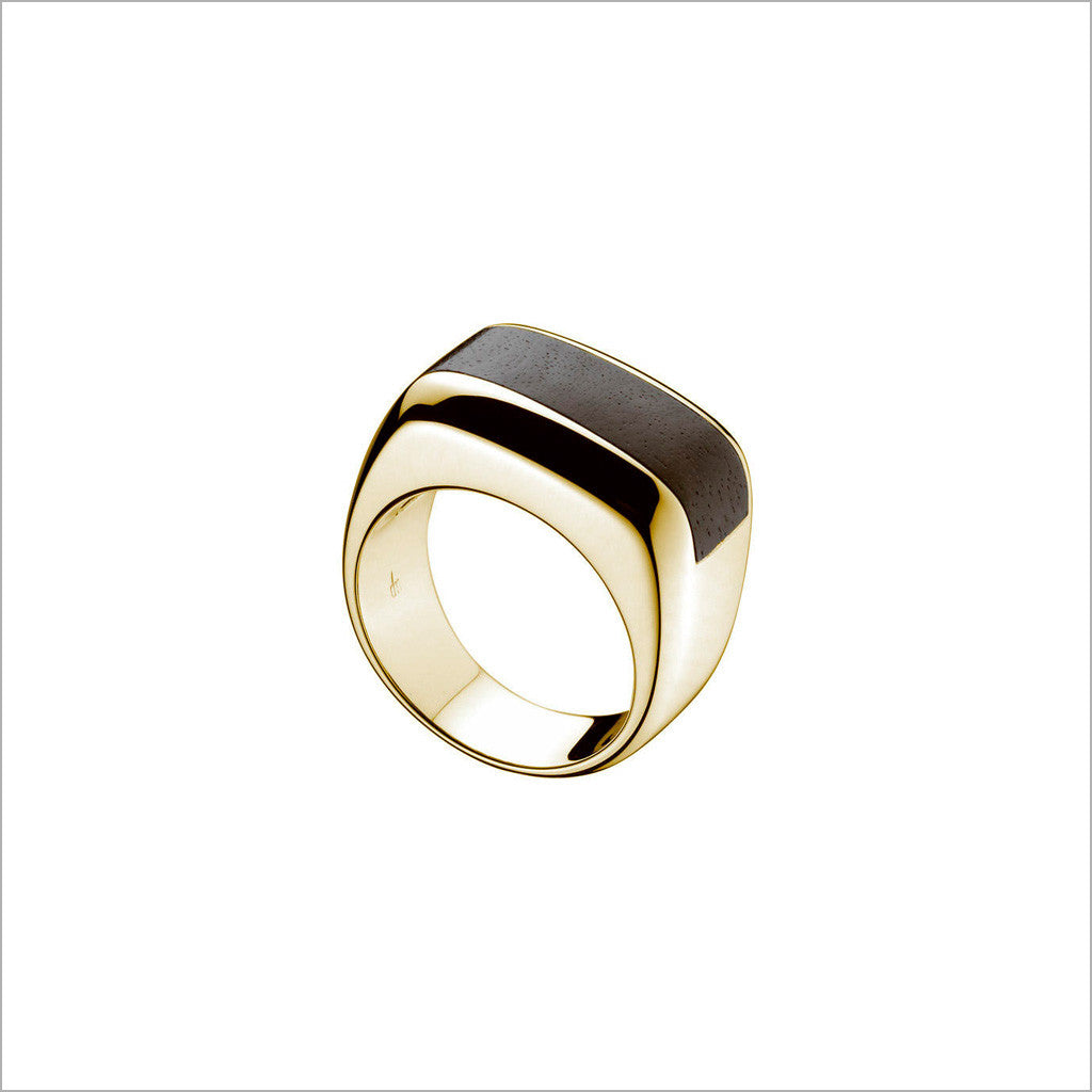 Men's Falco 18K Yellow Gold & Wood Ring