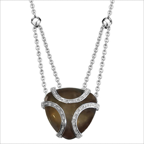 Spirit Smoky Quartz & Diamond Necklace in Sterling Silver