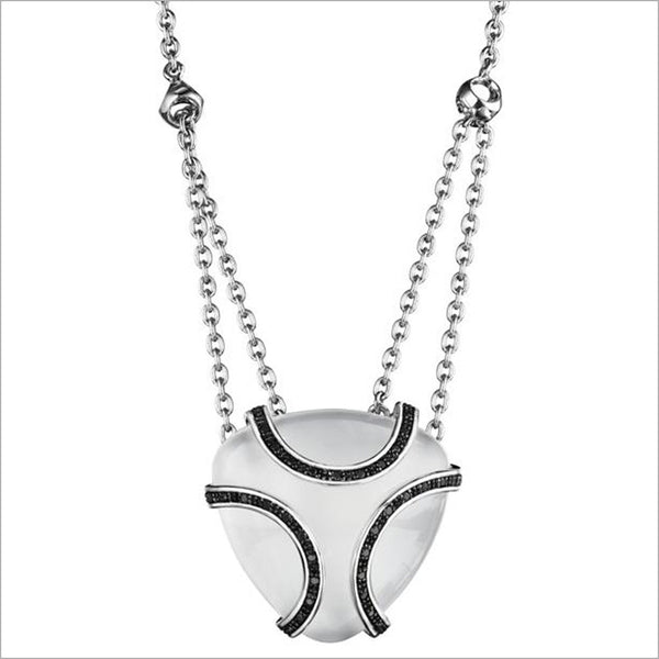 Spirit White Onyx & Diamond Necklace in Sterling Silver plated with Black Rhodium
