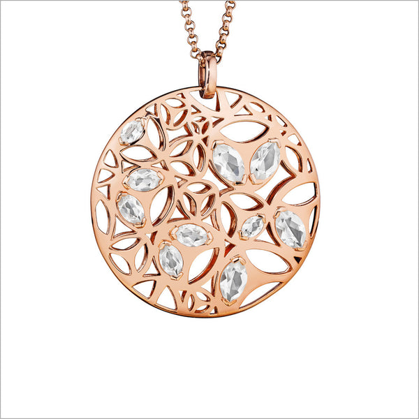 Medallion Rock Crystal Large Pendant in Sterling Silver plated in 18k Rose Gold