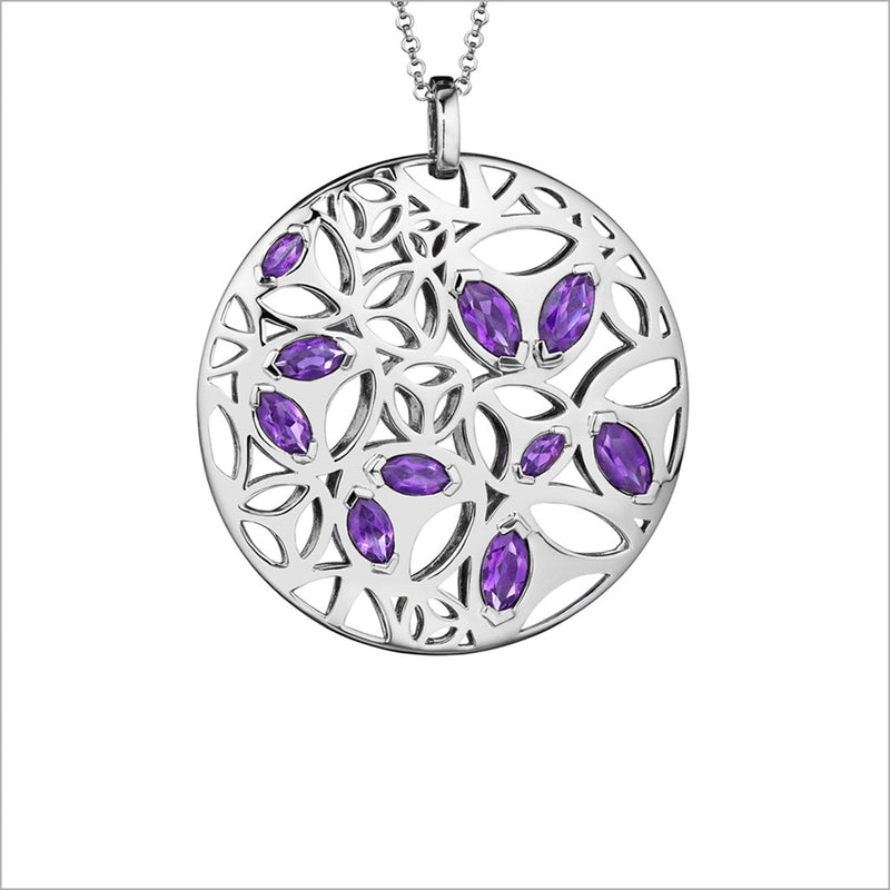 Medallion Amethyst Large Pendant in Sterling Silver