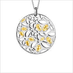 Medallion Golden Quartz Large Pendant in Sterling Silver