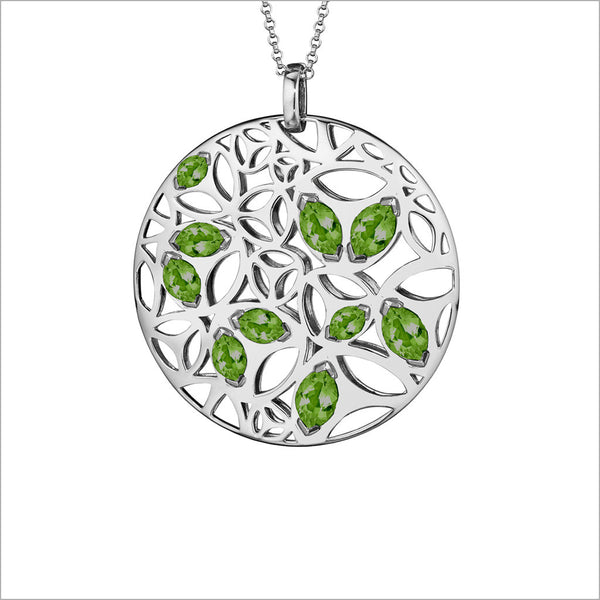 Medallion Green Quartz Large Pendant in Sterling Silver