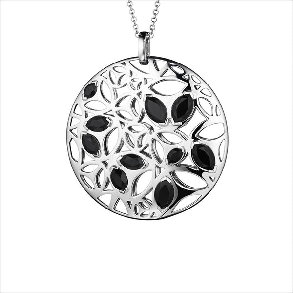 Medallion Black Onyx Large Pendant in Sterling Silver