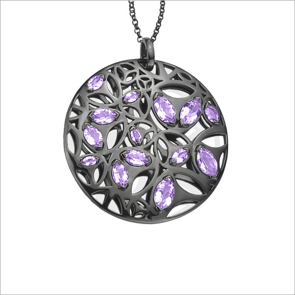 Medallion Black Rhodium & Amethyst Large Pendant in Sterling Silver