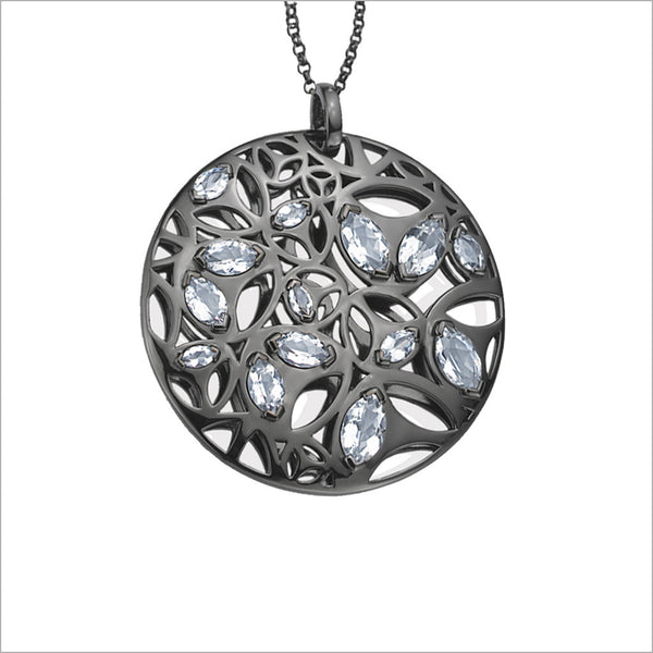 Medallion Black Rhodium & Rock Crystal Large Pendant in Sterling Silver