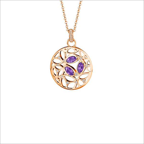 Medallion Amethyst Diamond Small Pendant in Sterling Silver plated in 18k Rose Gold