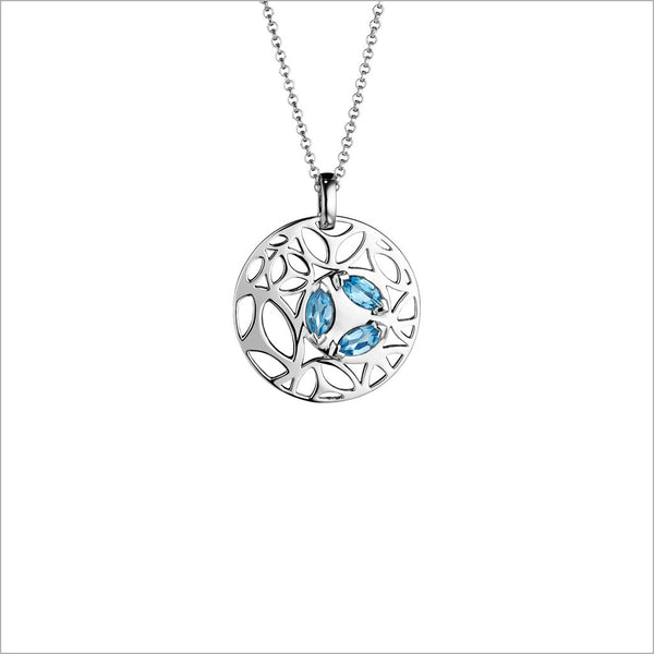 Medallion Blue Topaz Small Pendant in Sterling Silver