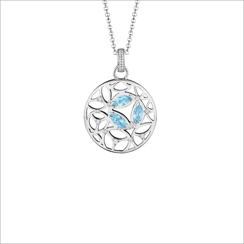 Medallion Blue Topaz & Diamond Small Pendant in Sterling Silver