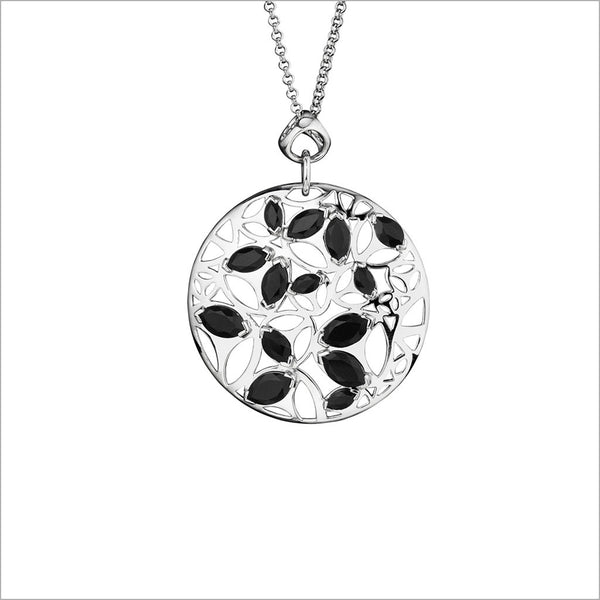 Medallion Black Onyx Medium Pendant in Sterling Silver