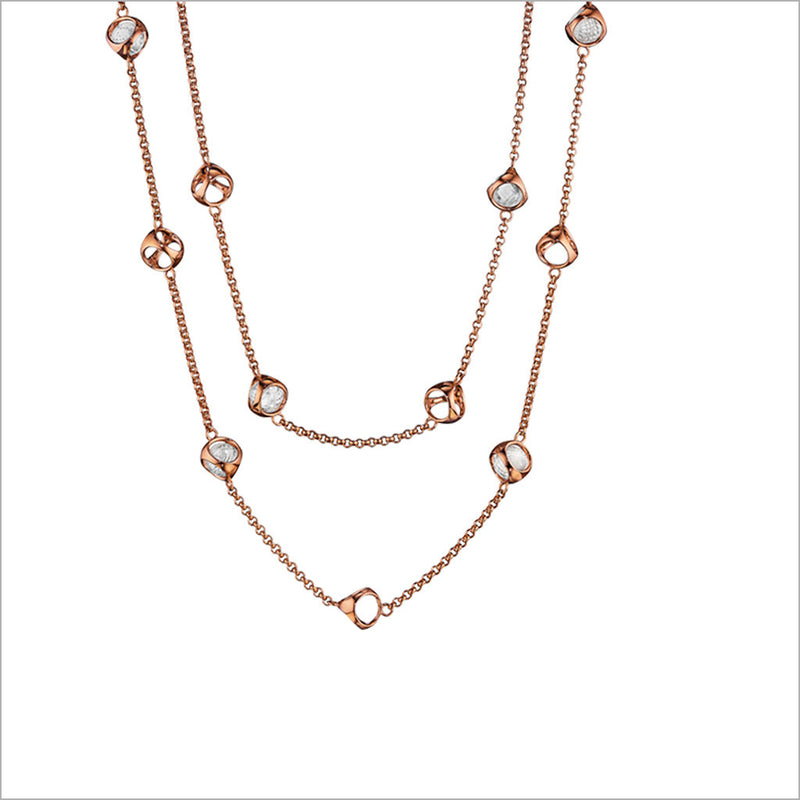 "Icona Rock Crystal 42"" Necklace in Sterling Silver Plated with 18k Rose Gold"