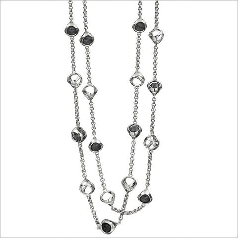 "Icona Black Onyx 42"" Necklace in Sterling Silver plated with Rhodium"