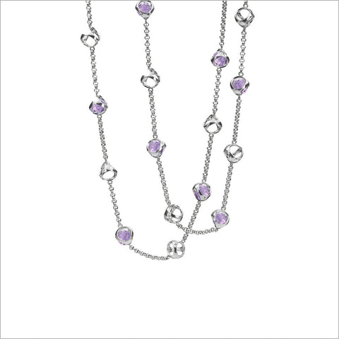 "Icona 42"" Purple Quartz Necklace in Sterling Silver"