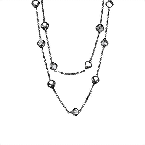 "Icona 42"" Necklace in Sterling Silver plated with Black Rhodium with Rock Crystal Stones"