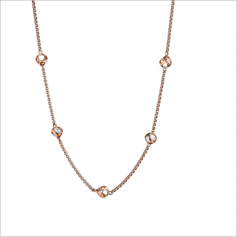 "Icona Rock Crystal 42"" Necklace in Sterling Silver Plated with Rose Gold"
