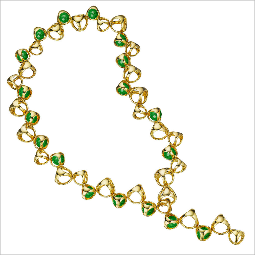 Icona Gold Plated Necklace with Green Quartz