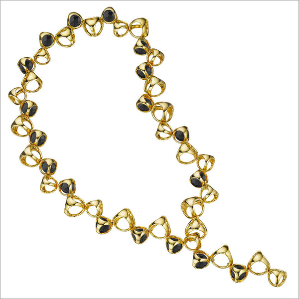 Icona Black Onyx Necklace in Sterling Silver Plated with Yellow Gold