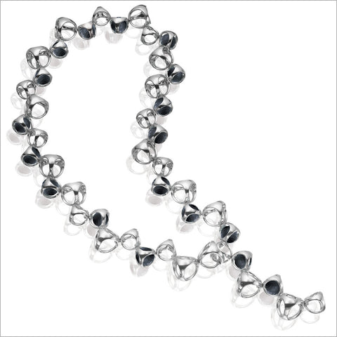 Icona Black Onyx Necklace in Sterling Silver plated with Rhodium