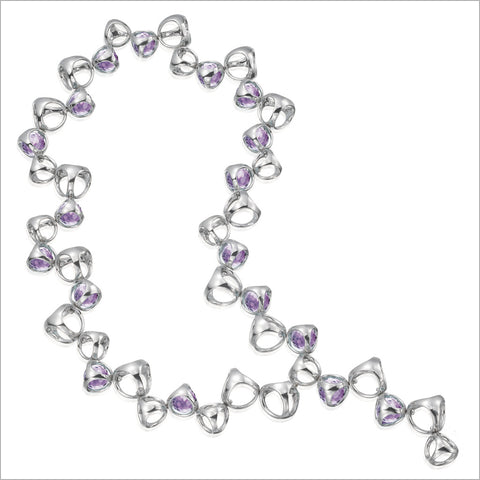 Icona Amethyst Necklace in Sterling Silver