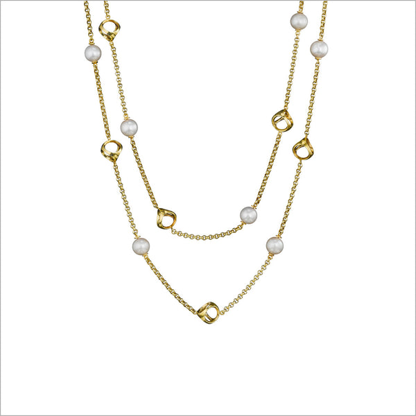"Icona Pearl 42"" Necklace in Sterling Silver Plated with 18k Yellow Gold"